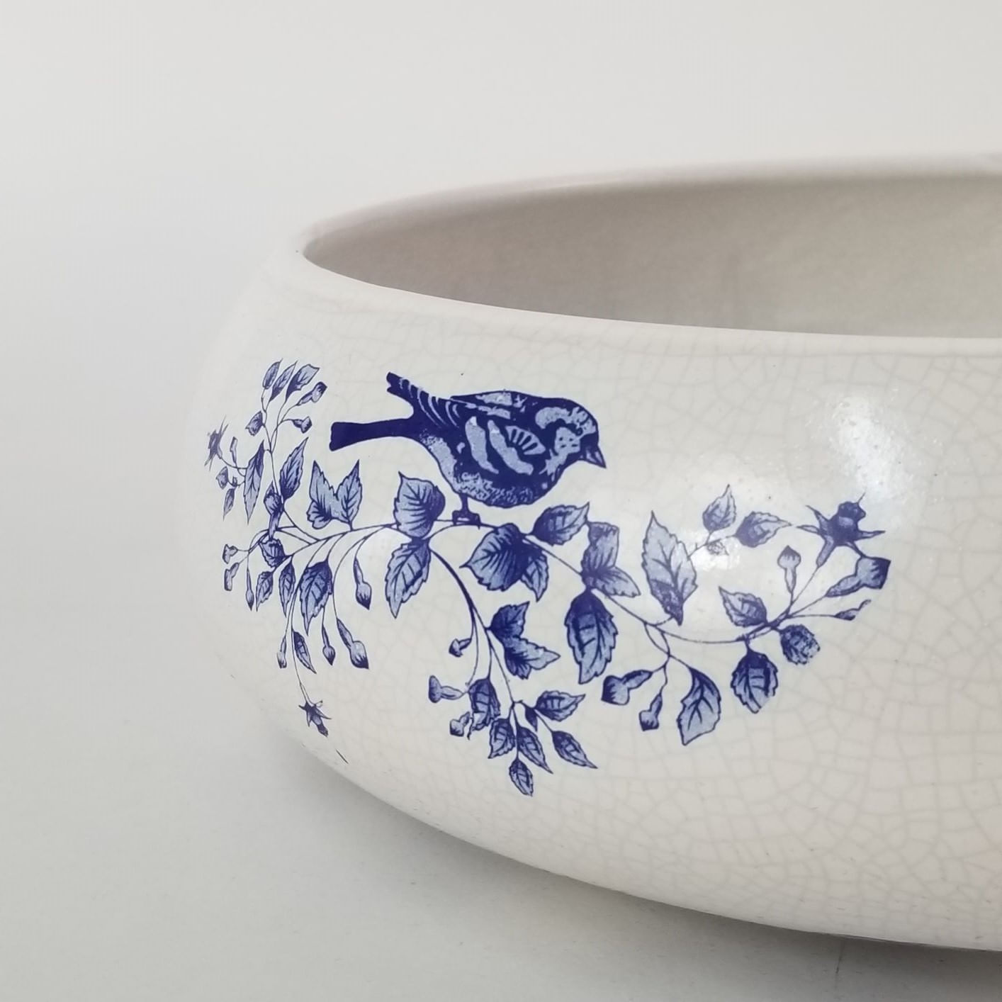 Tigela Cerâmica Ikebana Passarinho - Victoria Branco 30cm