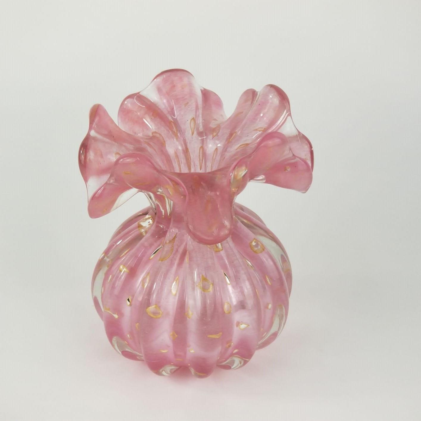 Trouxinha de Murano Pequena Pink Opalino Ouro 24K - Muranese