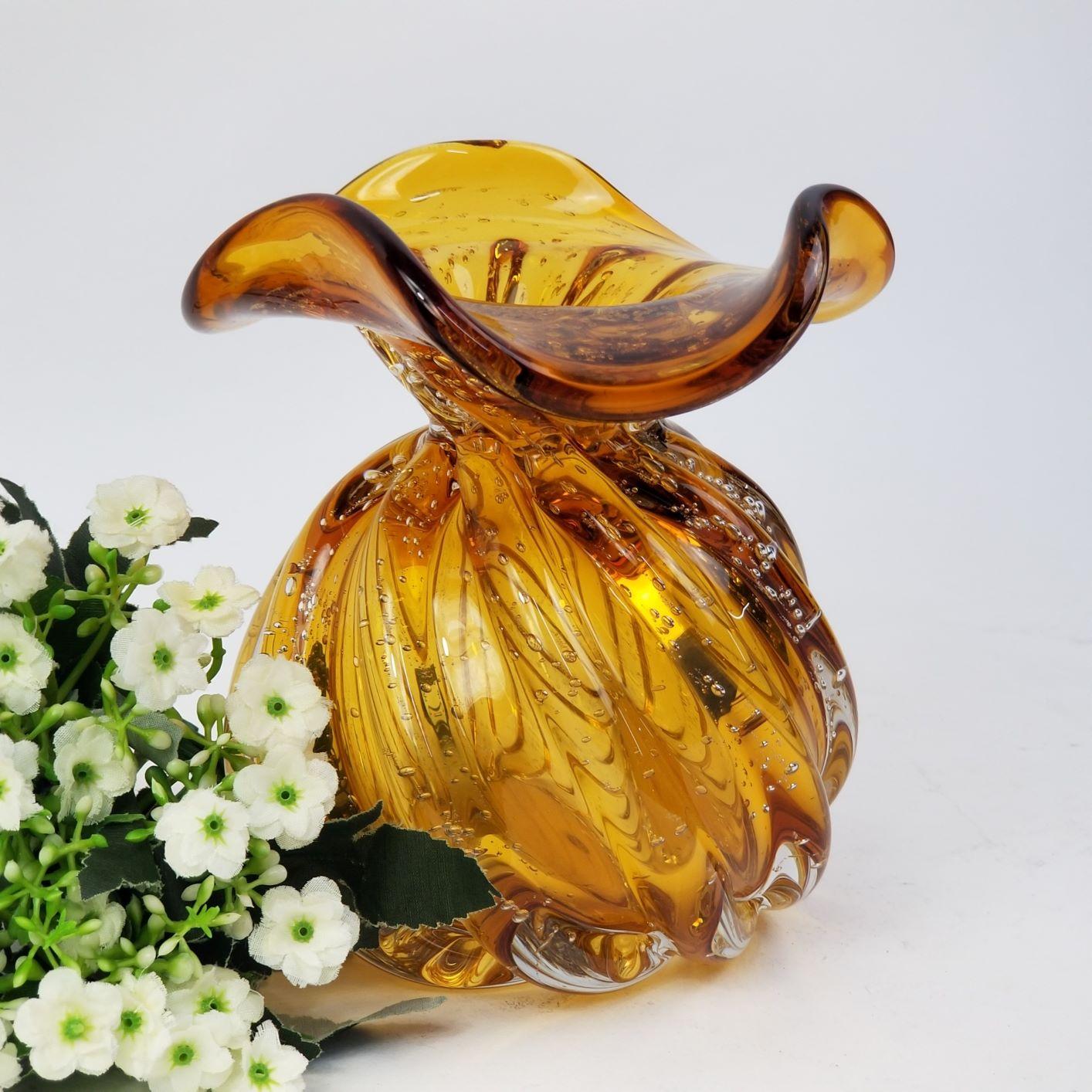 Trouxinha de Murano - Vaso Decorativo de Cristal Cor Âmbar