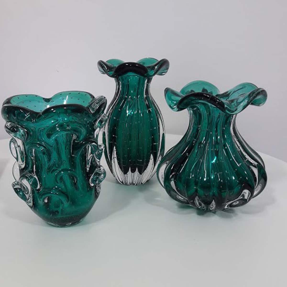 Vaso de Murano Com Aspente São Marcos - Cristal Verde Esmeralda 17cm