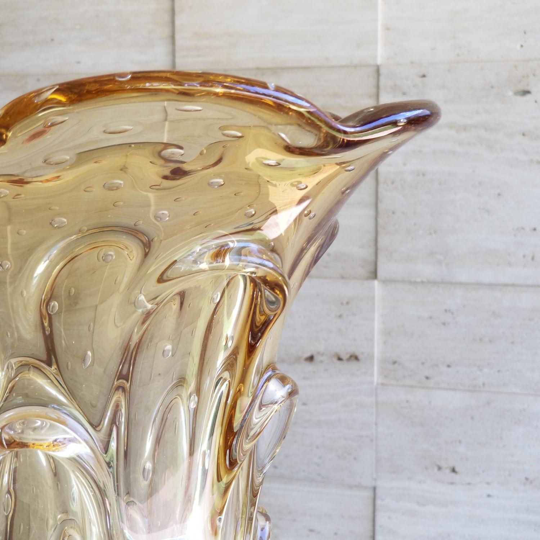 Vaso de Murano Extra Grande Cristais São Marcos - Cor Âmbar