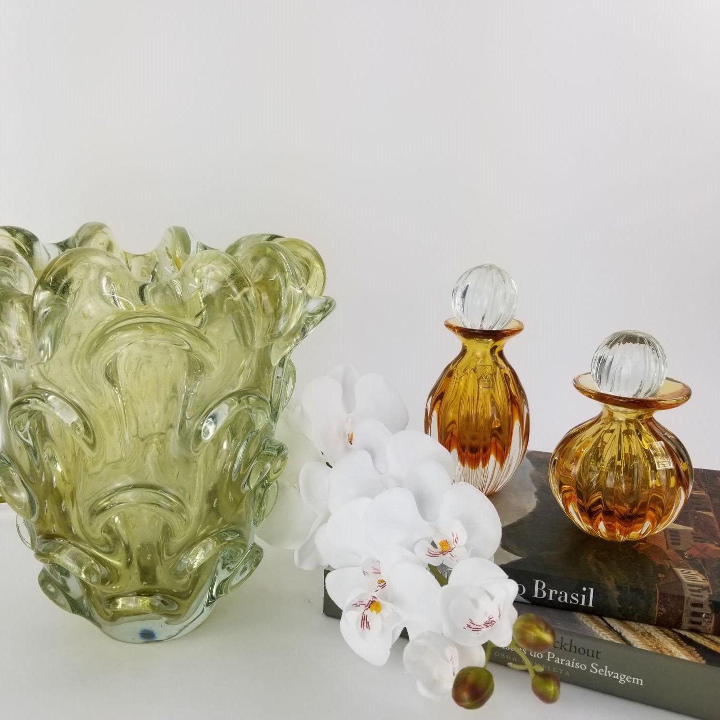 Vaso de Murano Grande Cor Honey Gold com Ouro 24K - Muranese
