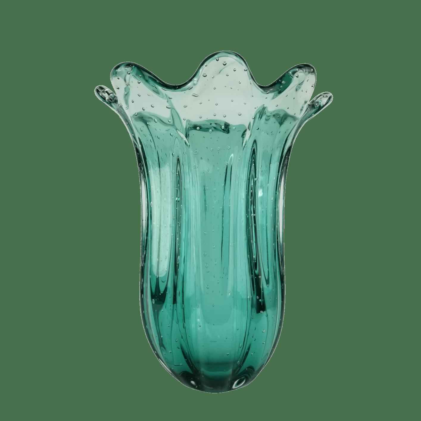 Vaso de Murano Grande Cristais Labone Everest Esmeralda 40cm