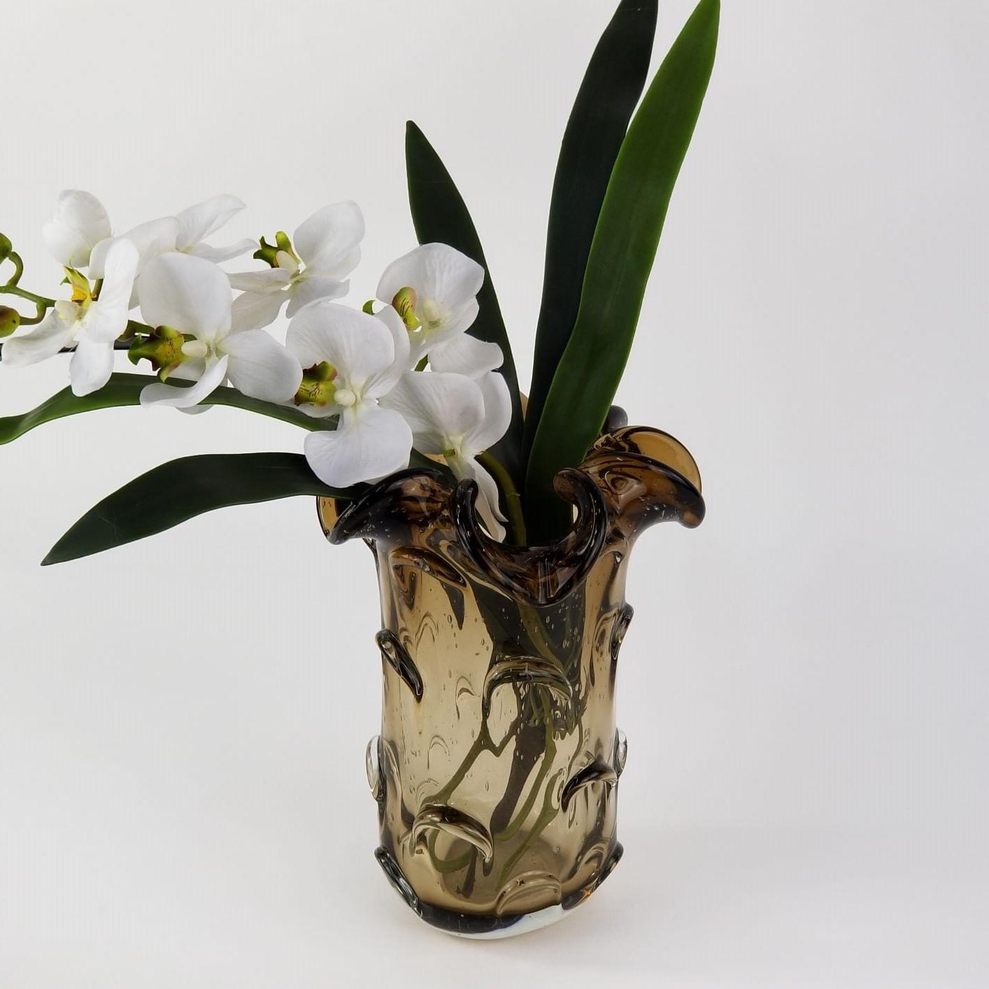 Vaso de Murano Importado Tamanho Médio para Flores - Marrom