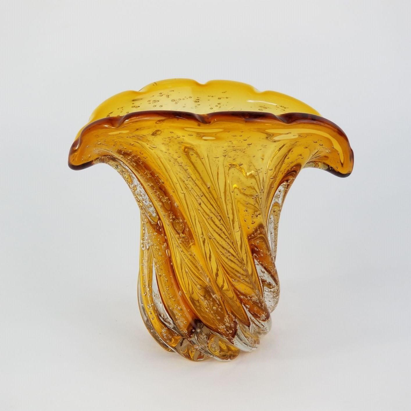 Vaso de Murano Pequeno Tipo Leque - Importado Cor Âmbar