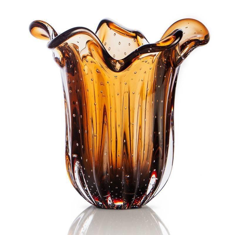 Vaso de Murano São Marcos - Cristal Marrom 22cm