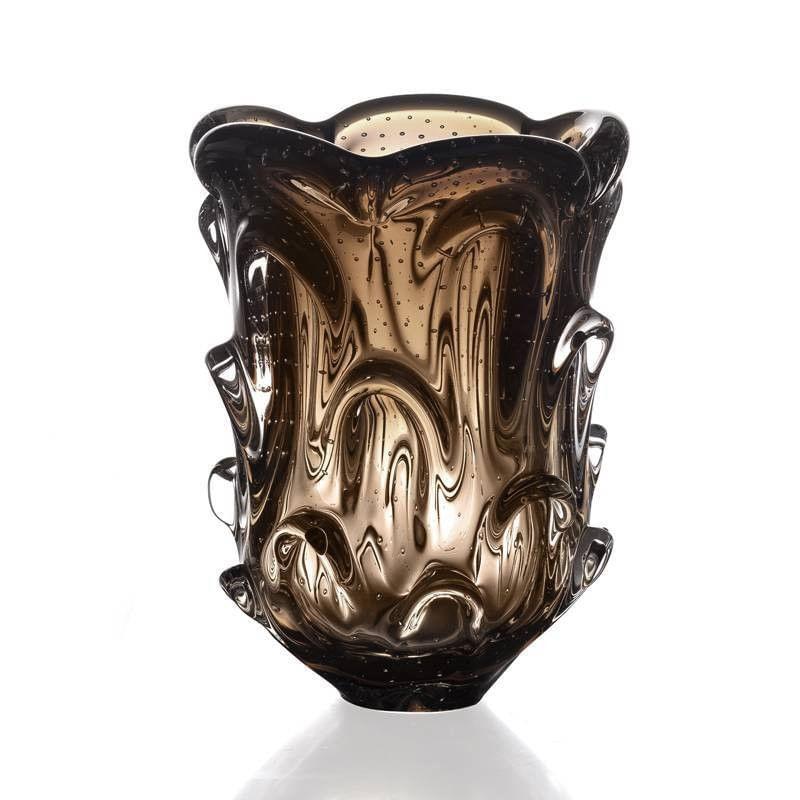 Vaso de Murano São Marcos - Marrom Com Aspente 26cm