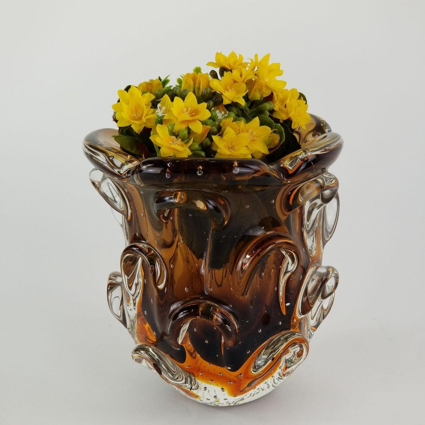Vaso de Murano São Marcos - Vaso Marrom Para Flores 17cm