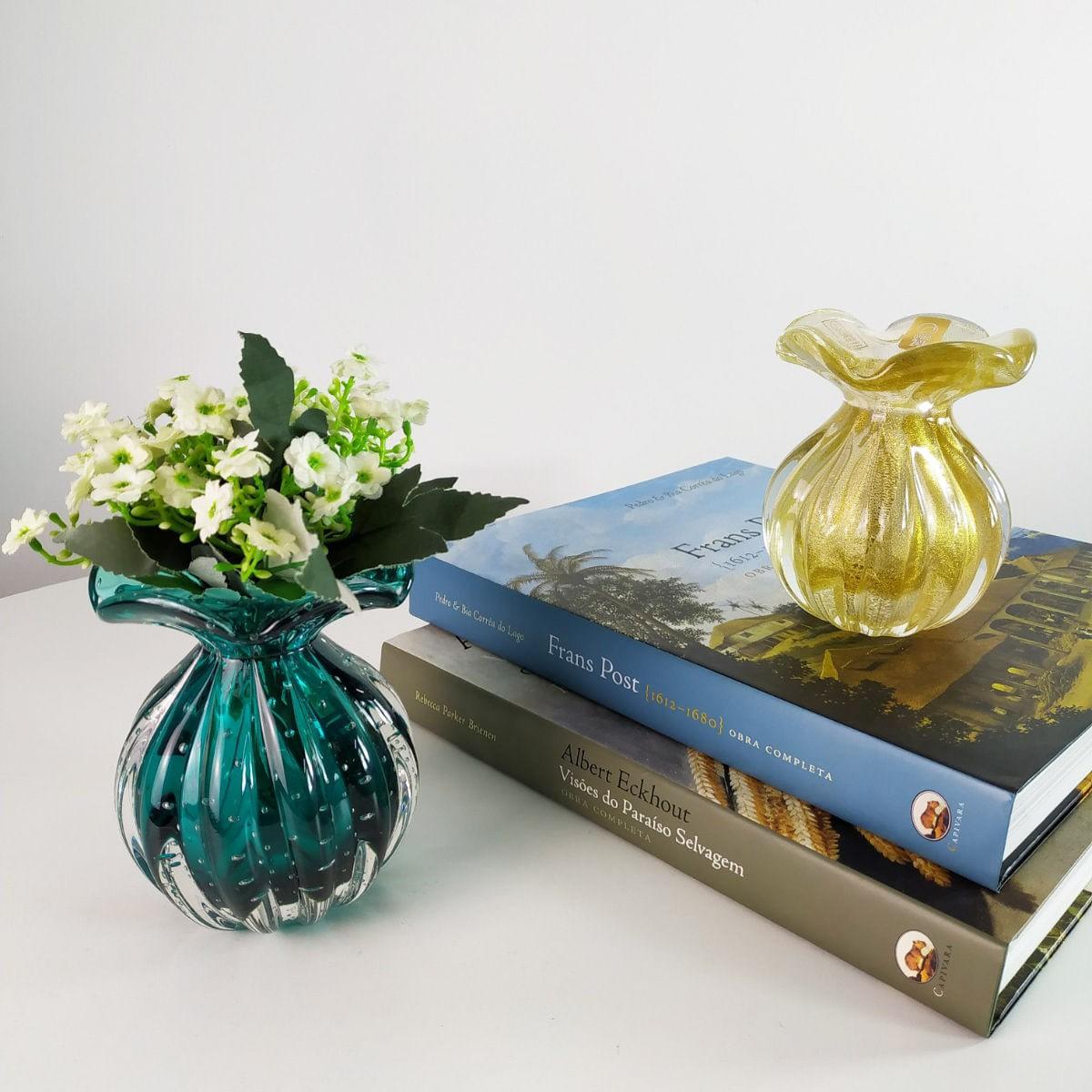 Vaso de Murano Trouxinha com Ouro 24K São Marcos - Cristal Transparente 14cm