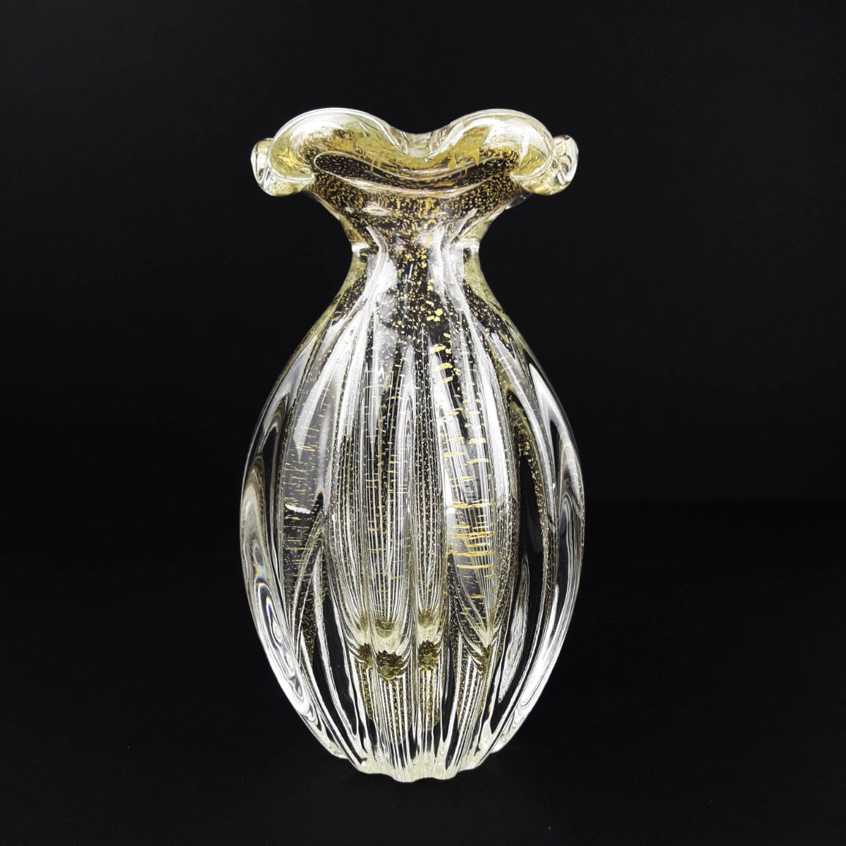 Vaso de Murano Trouxinha com Ouro São Marcos - Cristal Transparente 18cm
