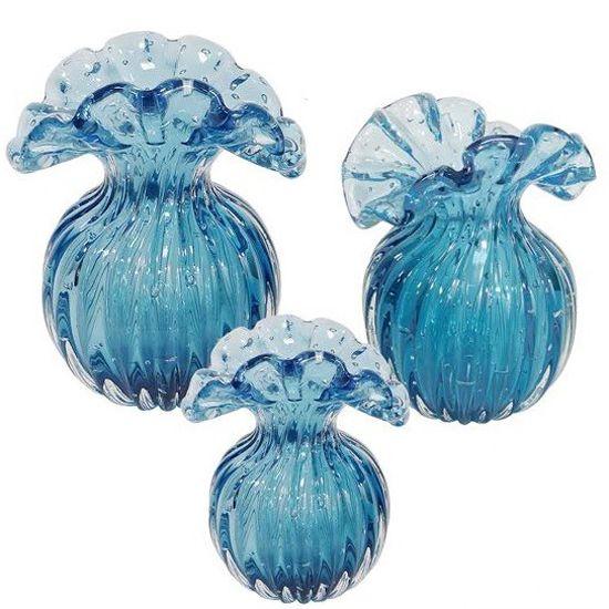Vaso de Murano Trouxinha D'labone - Cristal Azul / Aqua Marine Annecy 20cm