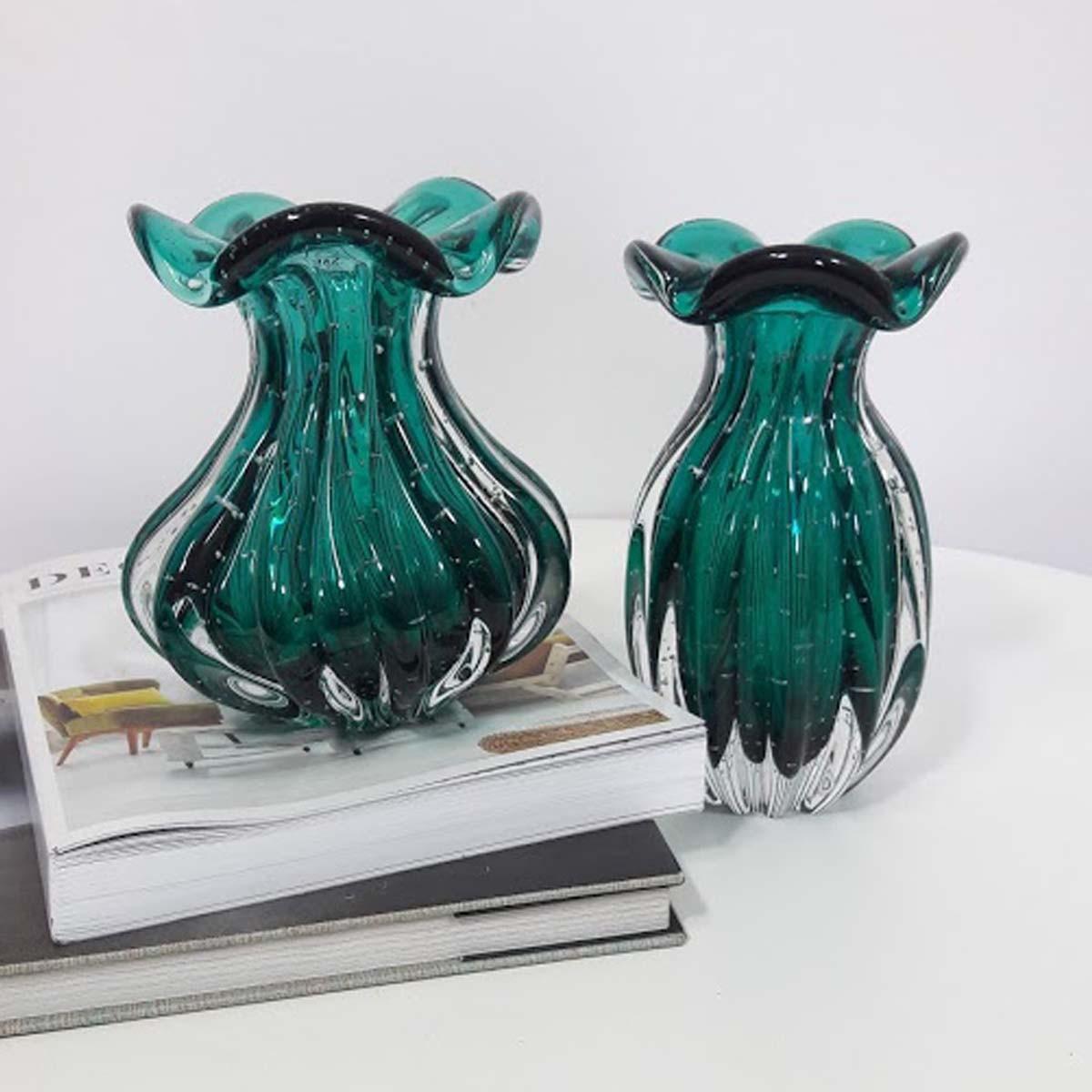 Vaso de Murano Trouxinha São Marcos - Cristal Verde Esmeralda 18cm