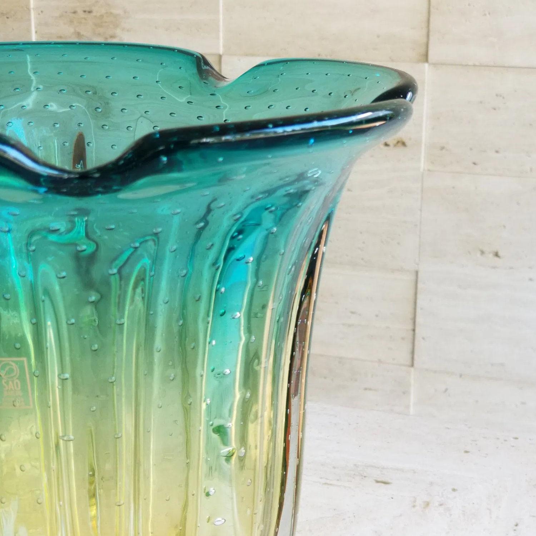 Vaso de Murano - Verde Esmeralda com Âmbar