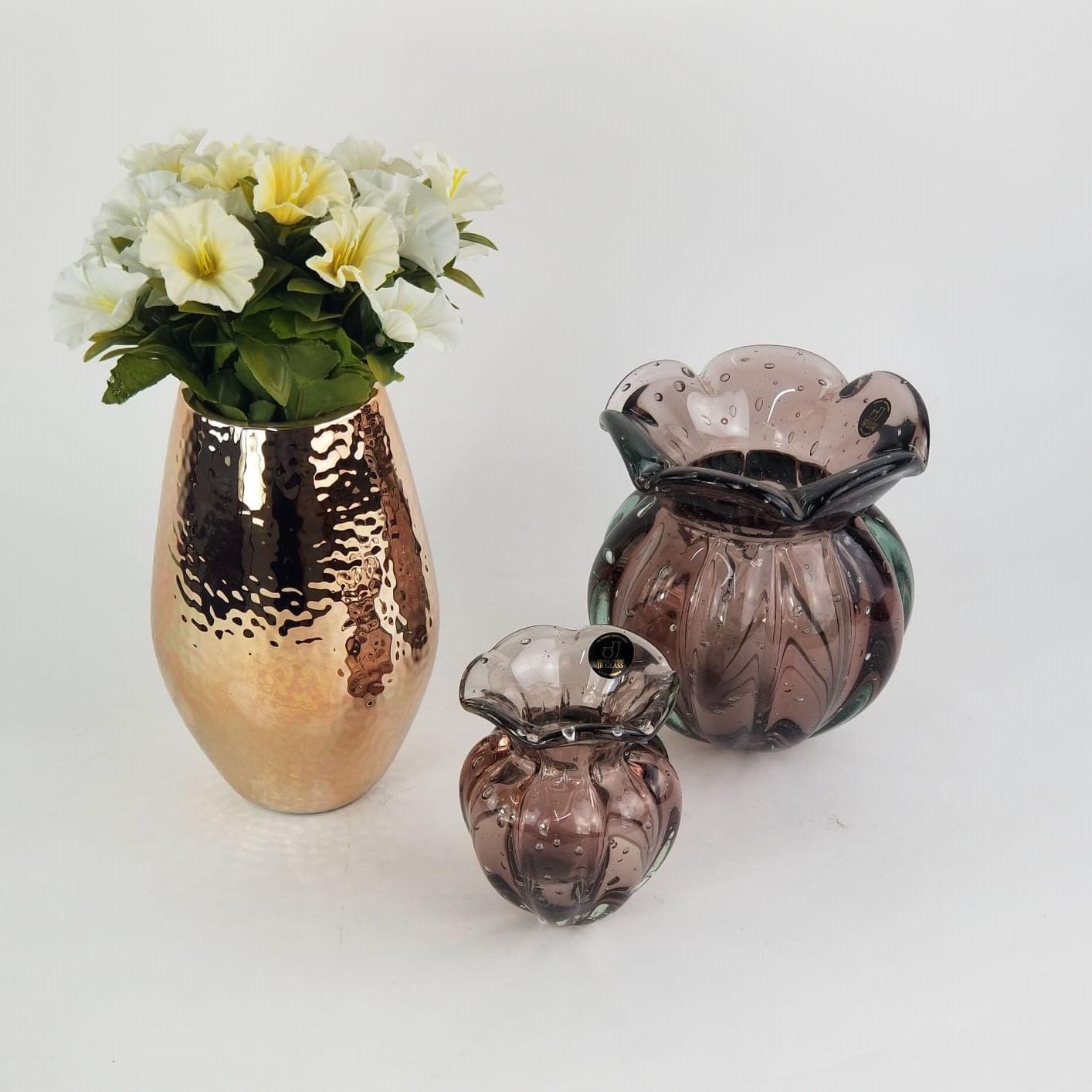Vaso Decorativo Cobre Brilhante - Vaso De Cerâmica Rosé Gold