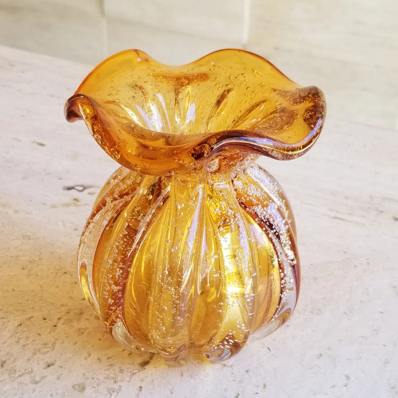 Vaso Decorativo Trouxinha de Cristal Murano - Âmbar