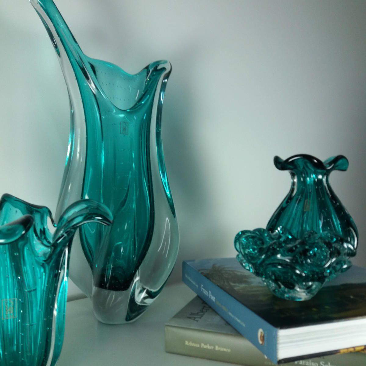 Vaso Grande De Murano São Marcos - Cristal Verde Esmeralda