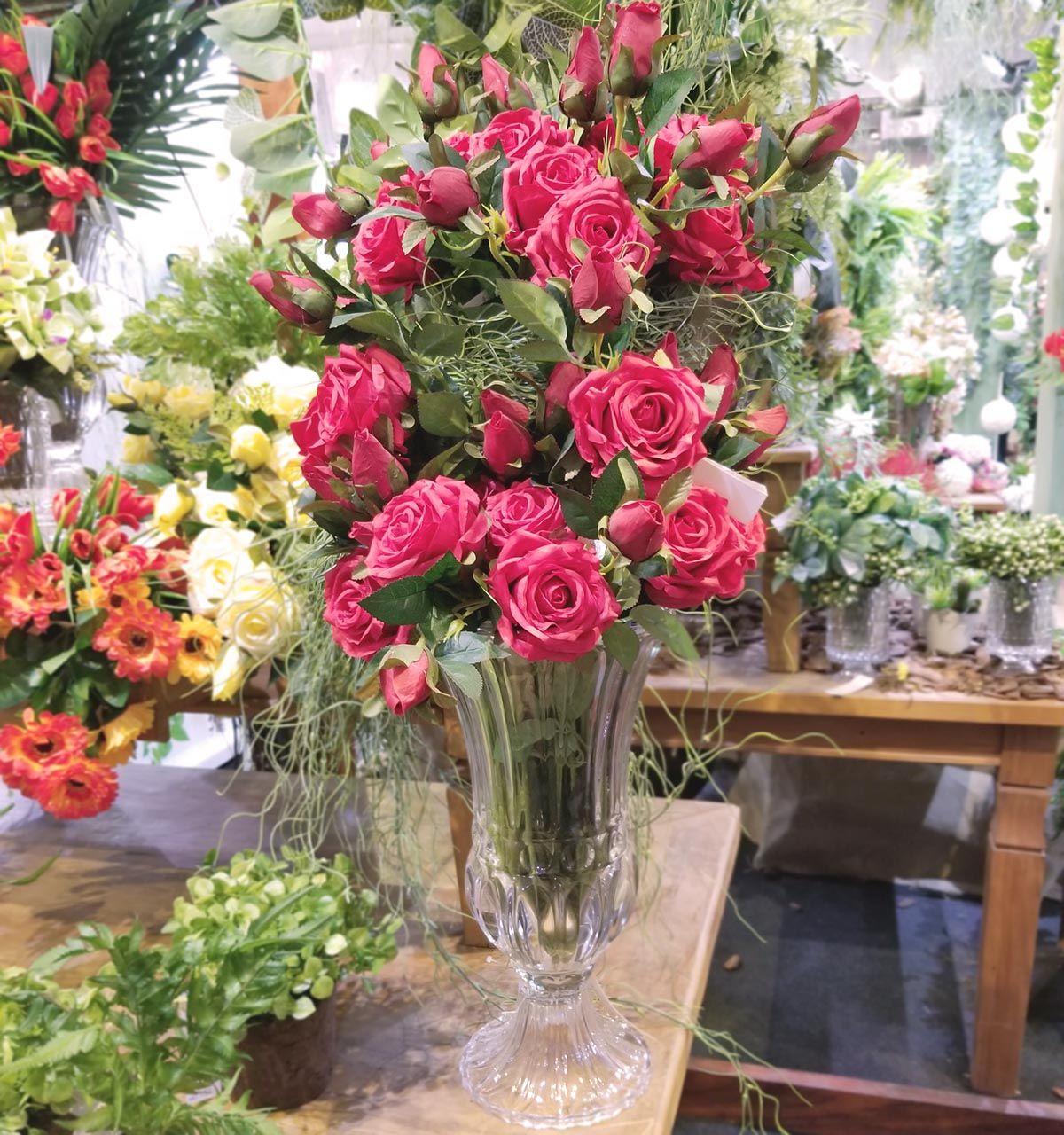 Vaso Grande Para Flores - Vaso Decorativo Transparente Athena Com Pé