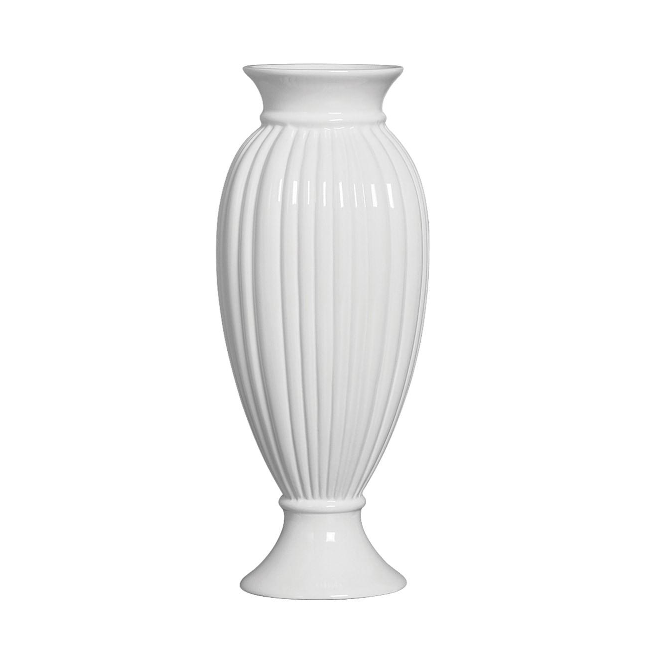 Vaso Longo Para Flores - Vaso Branco Grande de Cerâmica