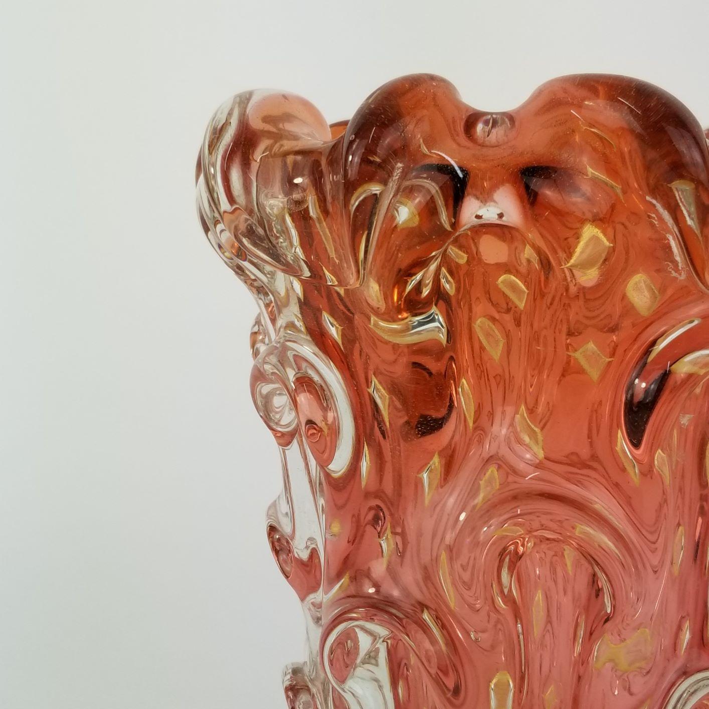 Vaso Médio de Murano Vermelho Rubi com Ouro 24K - Muranese