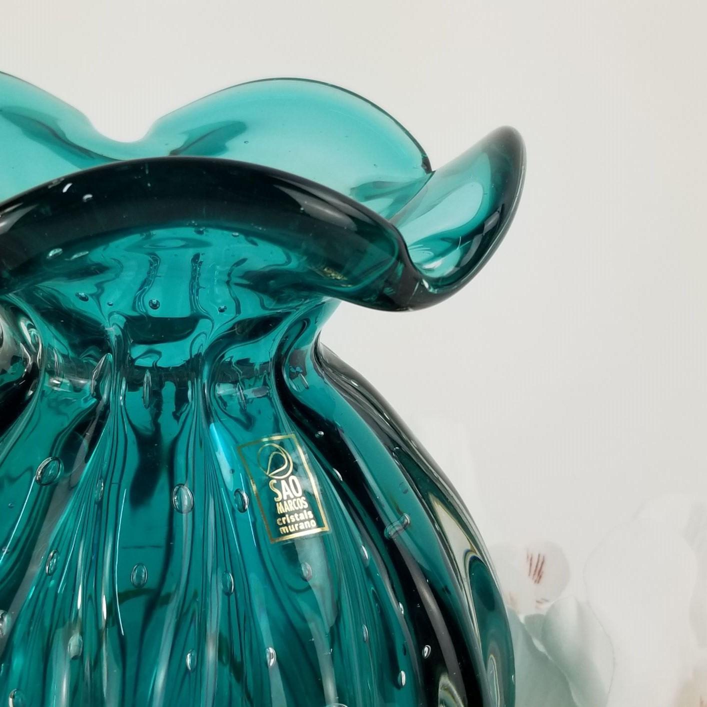 Vaso Trouxinha de Murano São Marcos - Cristal Esmeralda 18cm