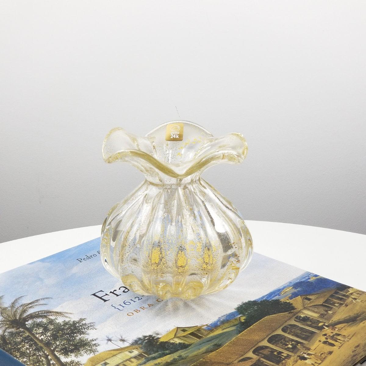 Vaso Trouxinha de Murano São Marcos - Cristal Transparente com Ouro 24K