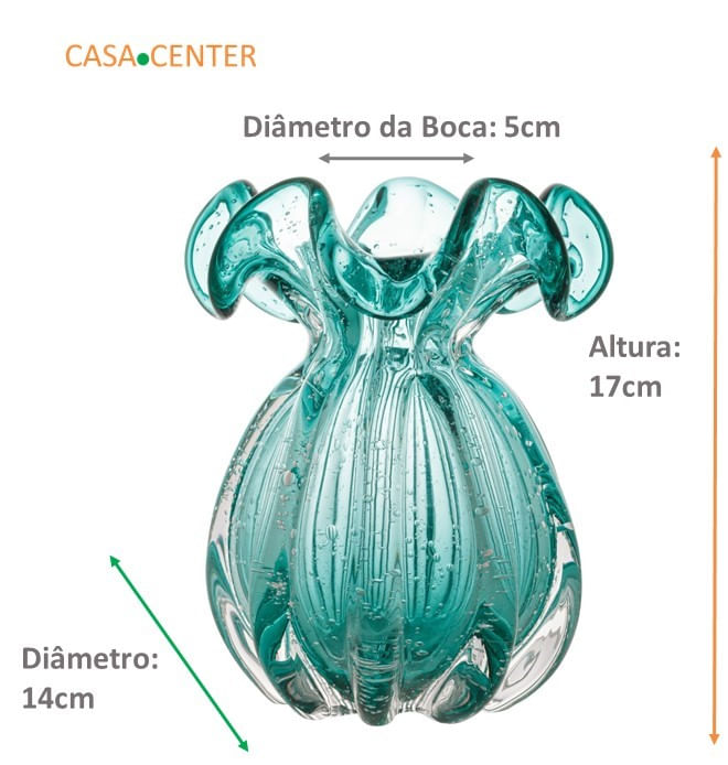 Vaso Trouxinha de Vidro Tipo Murano - Cor Verde Esmeralda