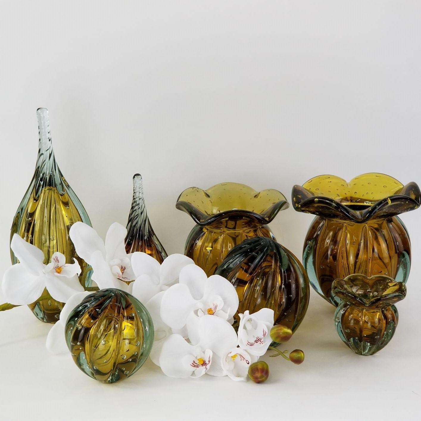 Vaso Trouxinha de Vidro Tipo Murano JR Glass - Cor Âmbar