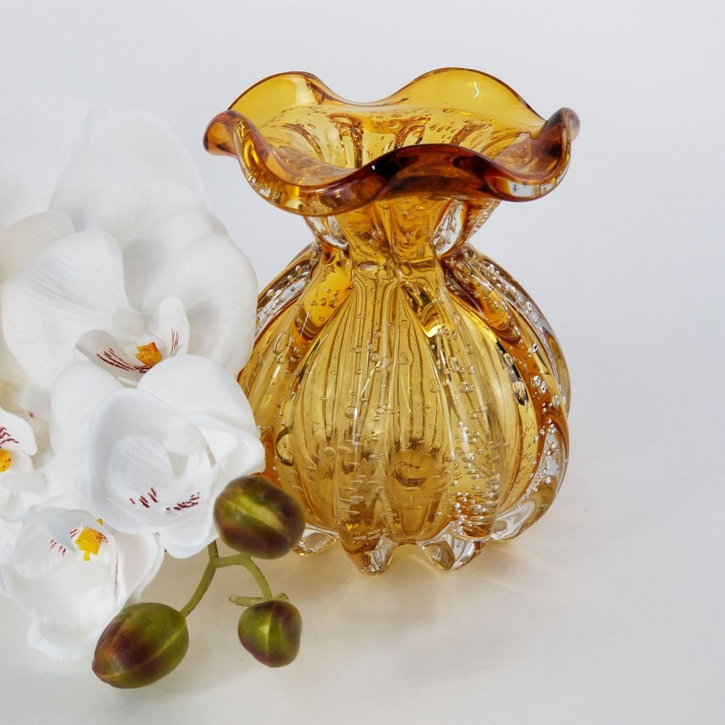 Vaso Trouxinha Decorativa de Murano Âmbar - Importado