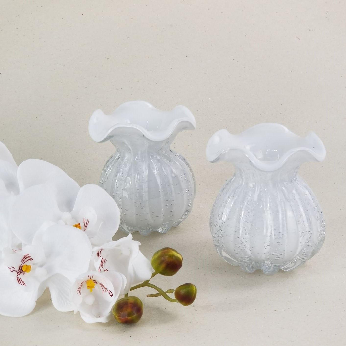 Vaso Trouxinha Decorativa de Murano Branco - Importado