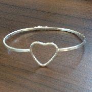 Pulseira Bracelete Coração Em Prata 925