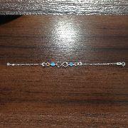 Pulseira C/ Zircônia Azul Espirito Santo Em Prata 925 -19cm