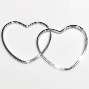 Brinco Argola Coração 36mm Em Prata 925