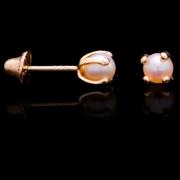 Brinco Pérola C/ Garra Bolinha Em Ouro 18k - 750 0,50grs 4mm