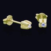 Brinco Solitário Garra Alta Com Zircônia Em Ouro 18k - 3mm