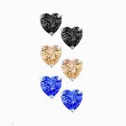 Combo Trio Brinco Coração Colorido 4mm Tr Baby Prata 925