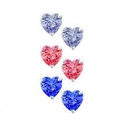 Combo Trio Brinco Coração Colorido 5mm Tr Baby Prata 925