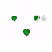 Conjunto Brinco Pingente Coração Verde Prata 925