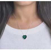 Conjunto Colar Coração Verde Prata 925