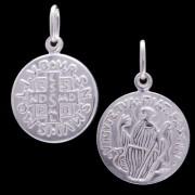 Corrente E Pingente Medalha De São Bento 9mm Em Prata 925