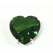 Pingente Coração Com Zircônia Verde 10mm Em Prata 925