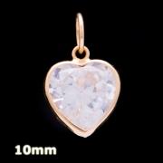 Pingente Coração Zircônia 10mm Branca Em Ouro 18k - 750