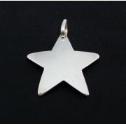 Pingente Estrela Lisa 34mm Em Prata 925