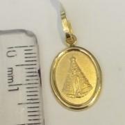 Pingente Medalha Nossa Senhora Aparecida Em Ouro 18k