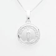 Pingente Medalha Redonda Nossa Senhora Da Conceição 14mm Proteção Prata 925