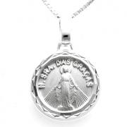 Pingente Medalha Redonda Nossa Senhora Das Graças 14mm Em Prata 925