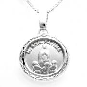Pingente Medalha Redonda Nossa Senhora Fátima 14mm Em Prata 925