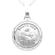 Pingente Medalha Redonda Santa Ana 14mm Em Prata 925