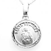 Pingente Medalha Redonda Santa Ediwiges 14mm Em Prata 925