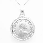 Pingente Medalha Redonda São Francisco De Assis 14mm Em Prata 925