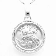 Pingente Medalha Redonda São Jorge 14mm Em Prata 925